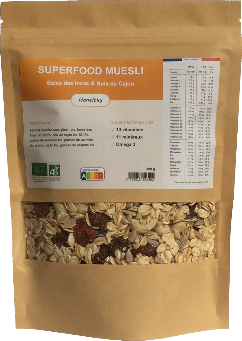 Superfood Muesli Baies des Incas et Noix de Cajou