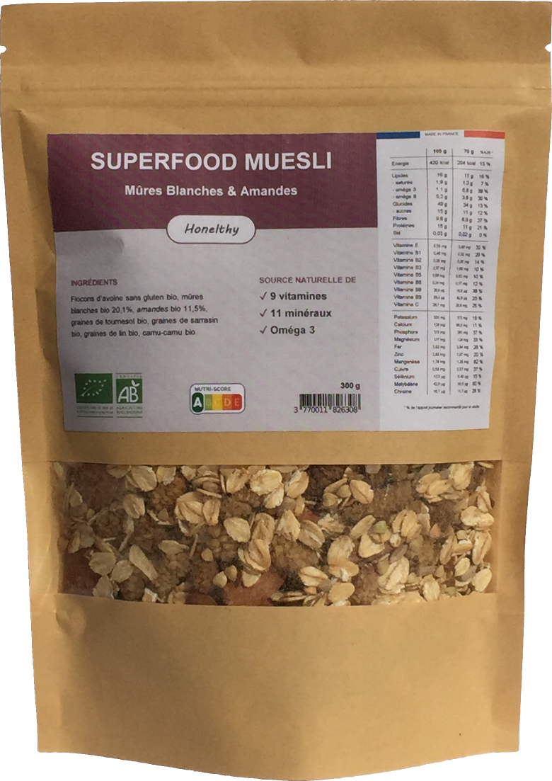 Superfood Muesli Mures Blanches et Amandes